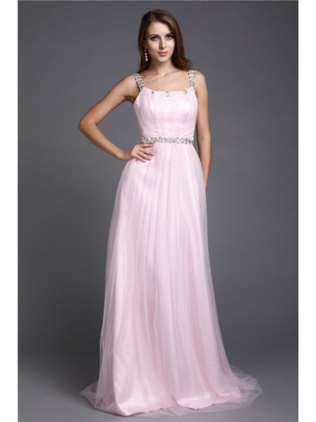 A-Line/Princess Net Rhinestone Sleeveless Floor-Length Dresses