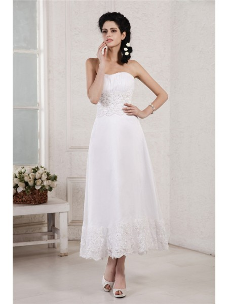 A-Line/Princess Chiffon Beading Sleeveless Tea-Length Wedding Dresses