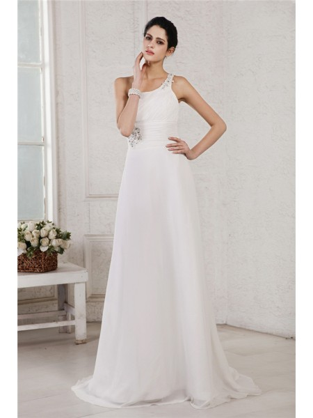 A-Line/Princess Chiffon Beading Sweep/Brush Train Sleeveless Wedding Dresses