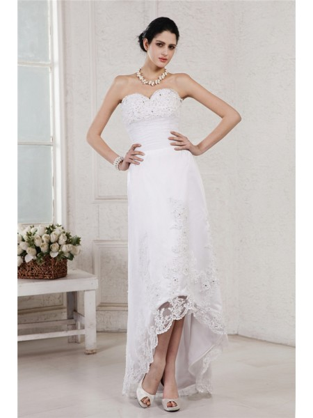 Sheath/Column Organza Beading Asymmetrical Sleeveless Wedding Dresses