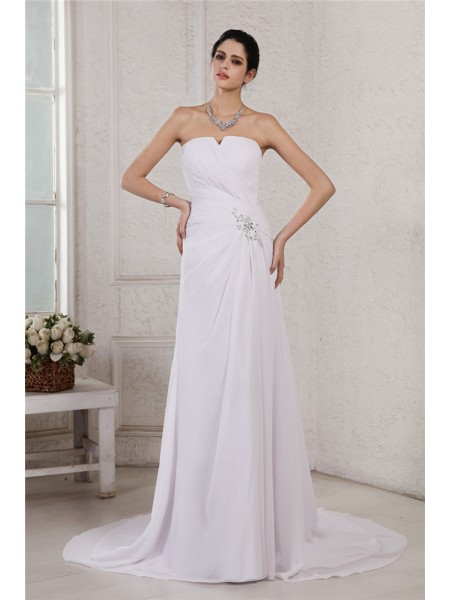 Sheath/Column Chiffon Beading Court Train Sleeveless Wedding Dresses
