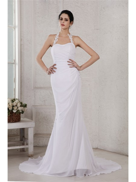 Trumpet/Mermaid Sleeveless Beading Chiffon Court Train Wedding Dresses