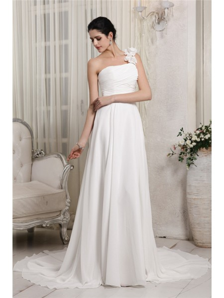 Sheath/Column Chiffon Sleeveless Ruffles Chapel Train Wedding Dresses
