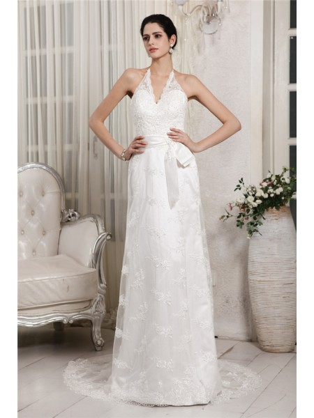 Sheath/Column Lace Sweep/Brush Train Applique Sleeveless Wedding Dresses