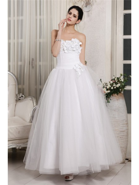Ball Gown Organza Sleeveless Beading Ankle-Length Wedding Dresses