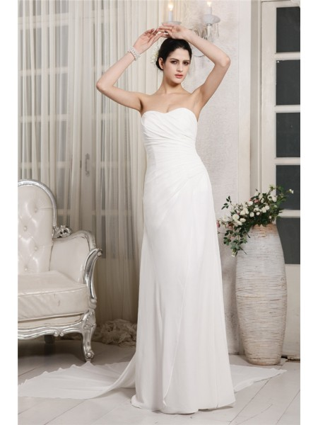 Sheath/Column Chiffon Sleeveless Ruffles Court Train Wedding Dresses