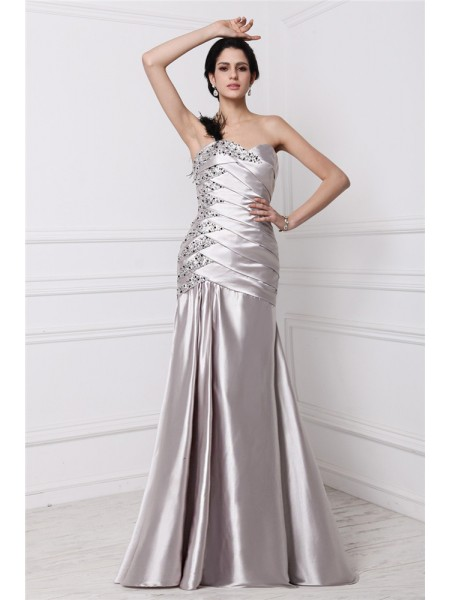 A-Line/Princess Elastic Woven Satin Sleeveless Beading Floor-Length Dresses