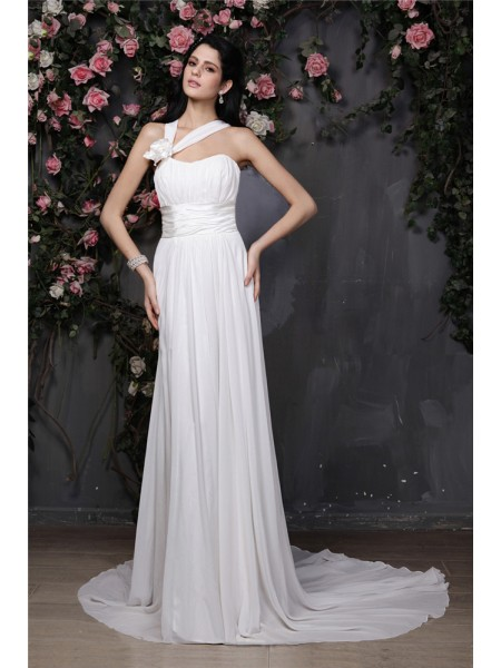 Sheath/Column Chiffon Hand-Made Flower Chapel Train Sleeveless Wedding Dresses