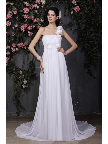 A-Line/Princess Chiffon Ruffles Sleeveless Chapel Train Wedding Dresses