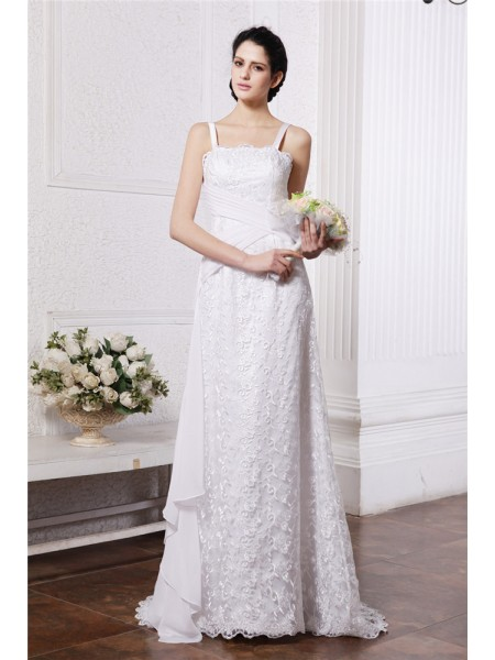 Sheath/Column Chiffon Sweep/Brush Train Ruffles Sleeveless Wedding Dresses