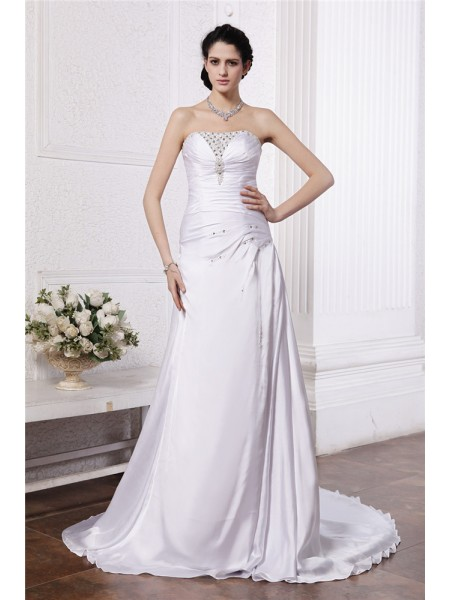 A-Line/Princess Silk like Satin Sleeveless Beading Court Train Wedding Dresses