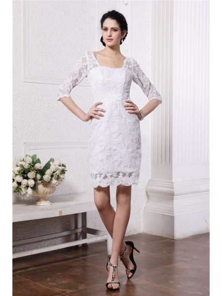 Sheath/Column Lace Short/Mini Lace 1/2 Sleeves Wedding Dresses