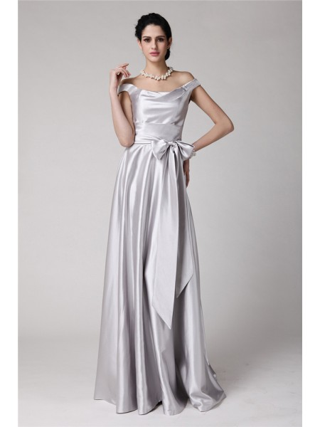 Sheath/Column Elastic Woven Satin Sleeveless Sash/Ribbon/Belt Floor-Length Dresses
