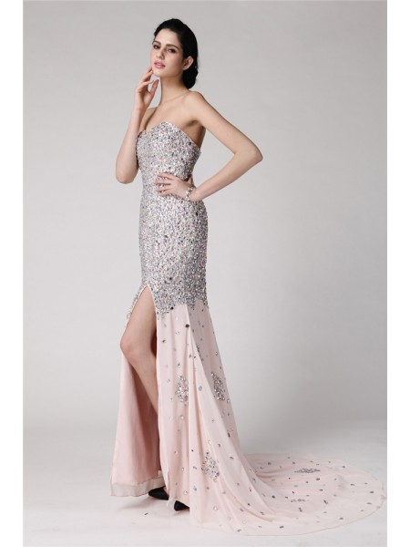 Trumpet/Mermaid Chiffon Sleeveless Beading Sweep/Brush Train Dresses
