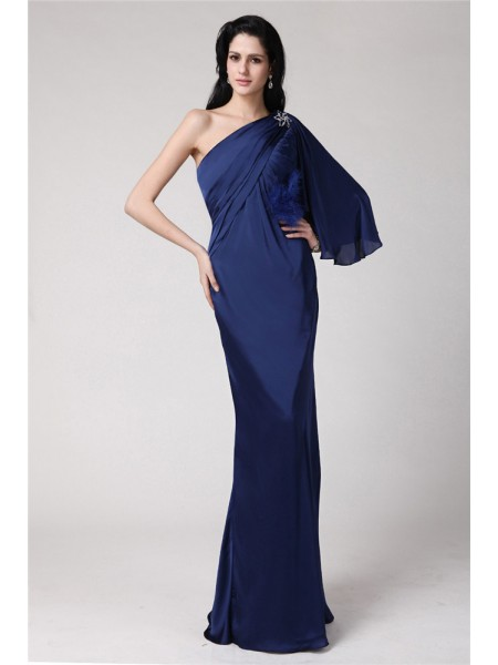 Trumpet/Mermaid Chiffon Feathers/Fur Sleeveless Floor-Length Dresses