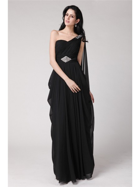 Sheath/Column Beading Chiffon Floor-Length Sleeveless Dresses