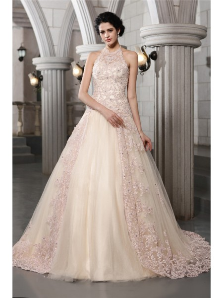 A-Line/Princess Net Sleeveless Beading Chapel Train Wedding Dresses