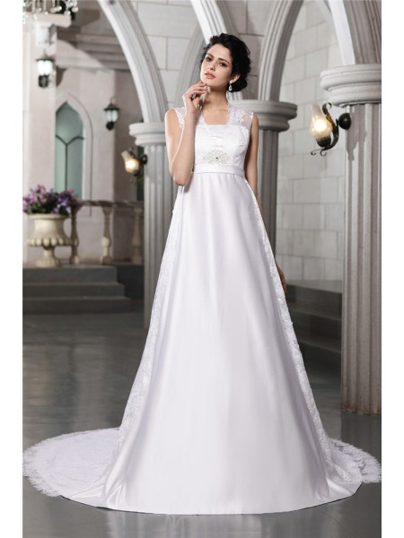 A-Line/Princess Satin Lace Cathedral Train Sleeveless Wedding Dresses