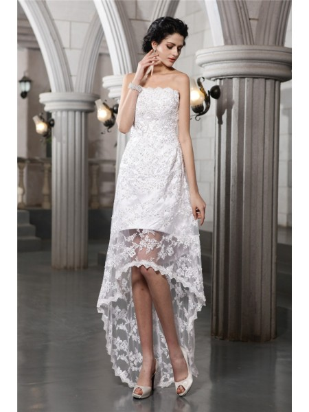 Sheath/Column Lace Beading Sleeveless Asymmetrical Wedding Dresses