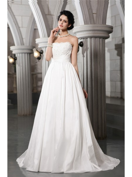 A-Line/Princess Taffeta Beading Sleeveless Court Train Wedding Dresses