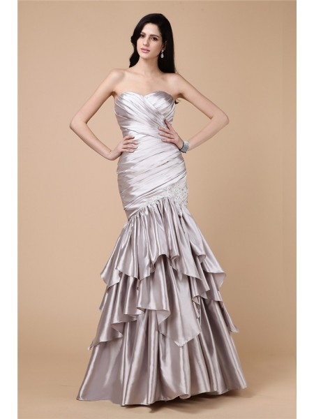 Trumpet/Mermaid Elastic Woven Satin Sleeveless Pleats Floor-Length Dresses