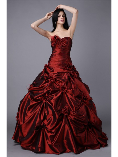Ball Gown Taffeta Sleeveless Hand-Made Flower Floor-Length Dresses