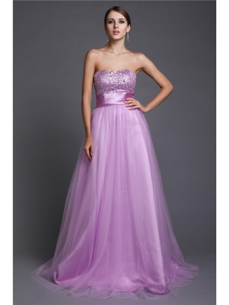 A-Line/Princess Net Sleeveless Beading Floor-Length Dresses