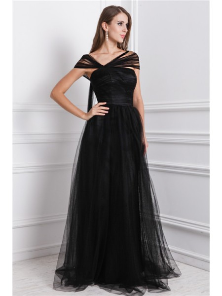 A-Line/Princess Net Ruffles Sleeveless Floor-Length Dresses