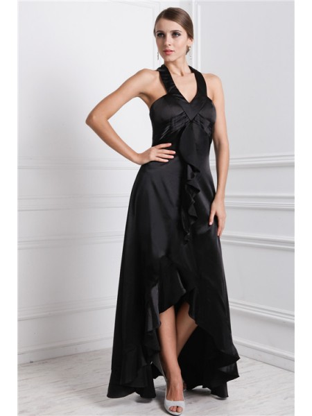 A-Line/Princess Silk like Satin Sleeveless Ruffles Asymmetrical Dresses