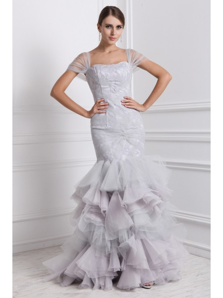 Trumpet/Mermaid Organza Short Sleeves Floor-Length Ruffles Dresses