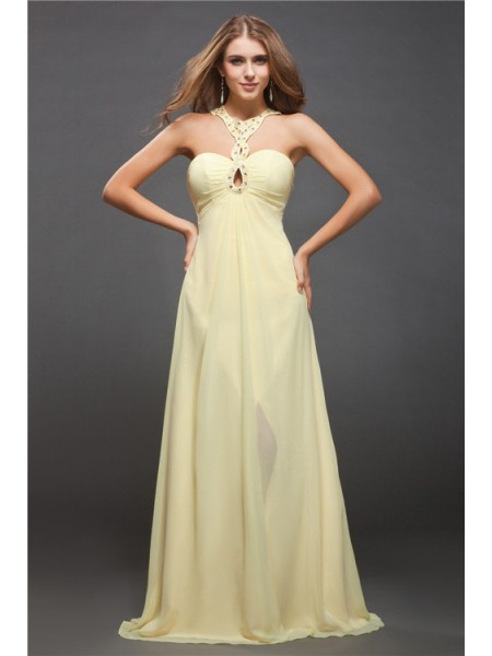 Sheath/Column Sleeveless Beading Chiffon Floor-Length Dresses