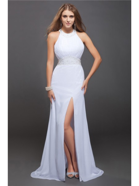 Sheath/Column Chiffon Beading Floor-Length Sleeveless Dresses