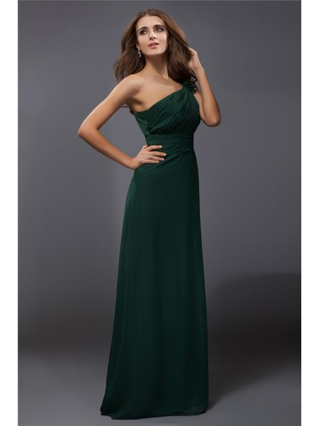Sheath/Column Chiffon Sleeveless Ruffles Floor-Length Dresses