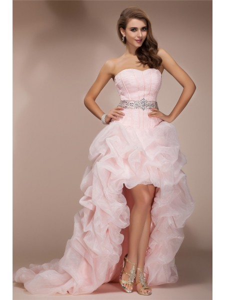 A-Line/Princess Organza Beading Sleeveless Asymmetrical Dresses