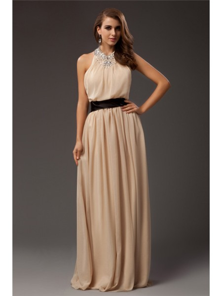 Sheath/Column Chiffon Sleeveless Floor-Length Beading Dresses