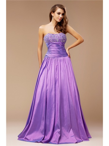 A-Line/Princess Taffeta Beading Sleeveless Floor-Length Dresses