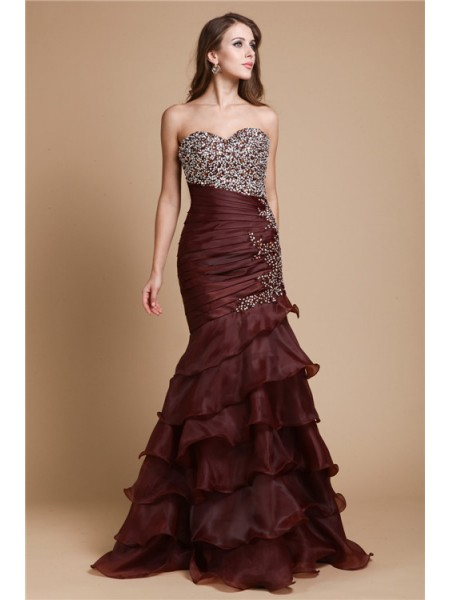 Trumpet/Mermaid Organza Beading Sleeveless Floor-Length Dresses