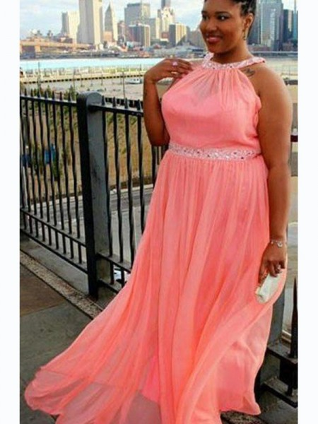 A-Line/Princess Beading Sweep/Brush Train Chiffon Sleeveless Halter Plus Size Dresses