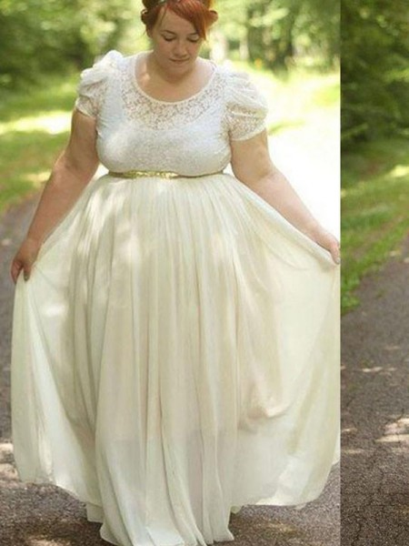 A-Line/Princess Scoop Floor-Length Chiffon Short Sleeves Lace Plus Size Dresses
