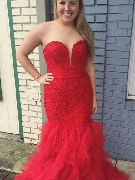 Trumpet/Mermaid Lace Sweep/Brush Train Sweetheart Sleeveless Tulle Plus Size Dresses