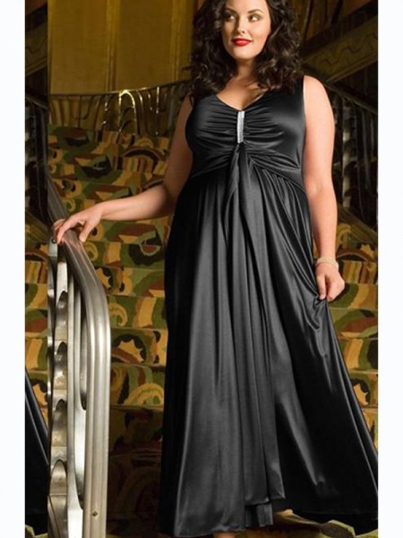 A-Line/Princess V-neck Ankle-Length Sleeveless Beading Elastic Woven Satin Plus Size Dresses