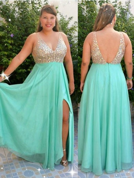 A-Line/Princess V-neck Chiffon Sleeveless Beading Floor-Length Plus Size Dresses