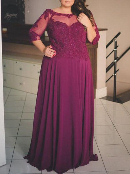 A-Line/Princess 1/2 Sleeves Applique Scoop Floor-Length Chiffon Plus Size Dresses