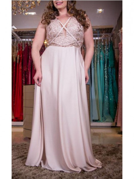 A-Line/Princess V-neck Floor-Length Elastic Woven Satin Sleeveless Plus Size Dresses