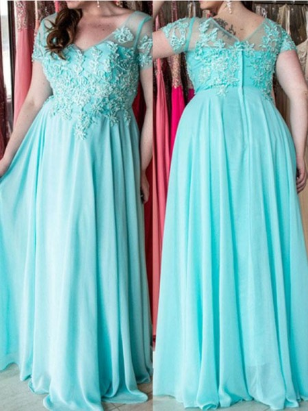 A-Line/Princess Sweetheart Applique Floor-Length Short Sleeves Chiffon Plus Size Dresses