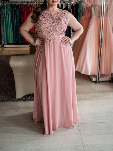A-Line/Princess Bateau Sleeveless Floor-Length Chiffon Plus Size Dresses