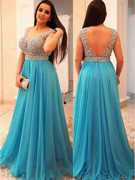 A-Line/Princess Chiffon V-neck Sleeveless Beading Sweep/Brush Train Plus Size Dresses