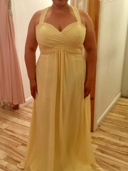 A-Line/Princess Halter Ruched Chiffon Sleeveless Floor-Length Plus Size Dresses