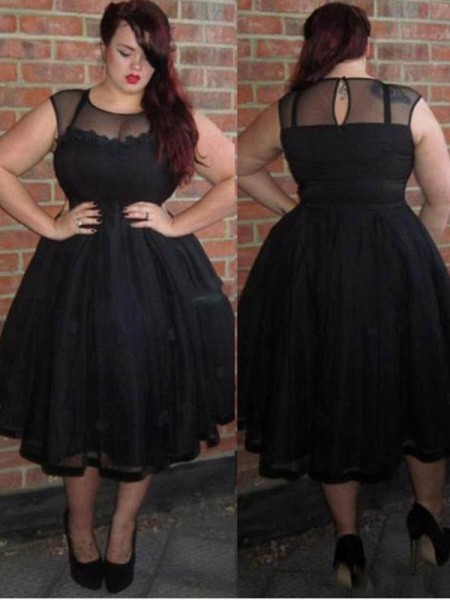 aab9d0ccd8b A-Line Princess Applique Ankle-Length Tulle Scoop Sleeveless Plus Size  Dresses