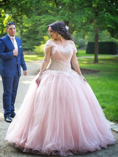 Ball Gown Sleeveless Applique Floor-Length Off-the-Shoulder Tulle Plus Size Dresses